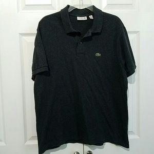 Lacoste Mens Gray Short Sleeve Cotton Polo XL